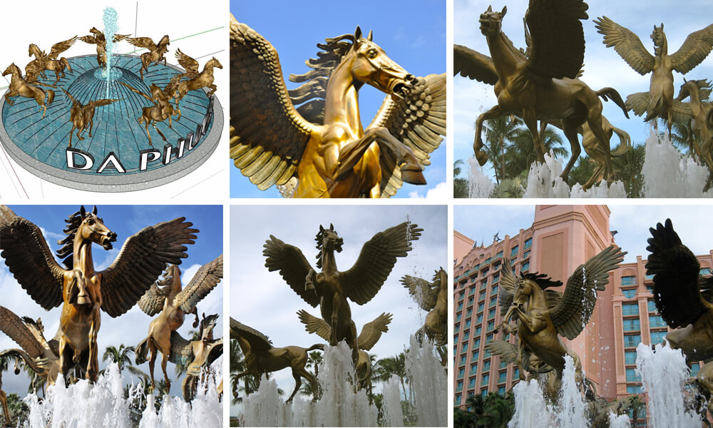 bronze winged horse fountain