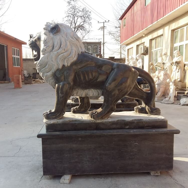 Marble Black Lion Statue in Pair