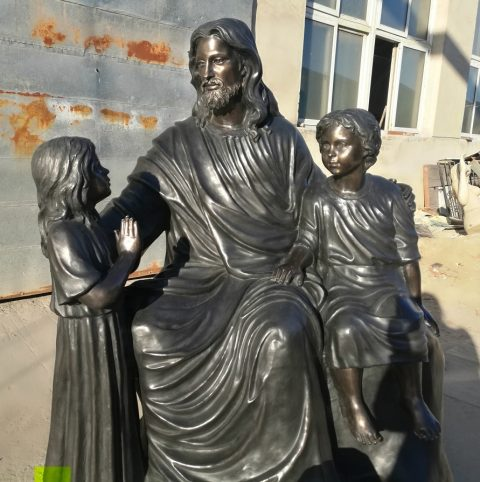 life size bronze jesus statue with children
