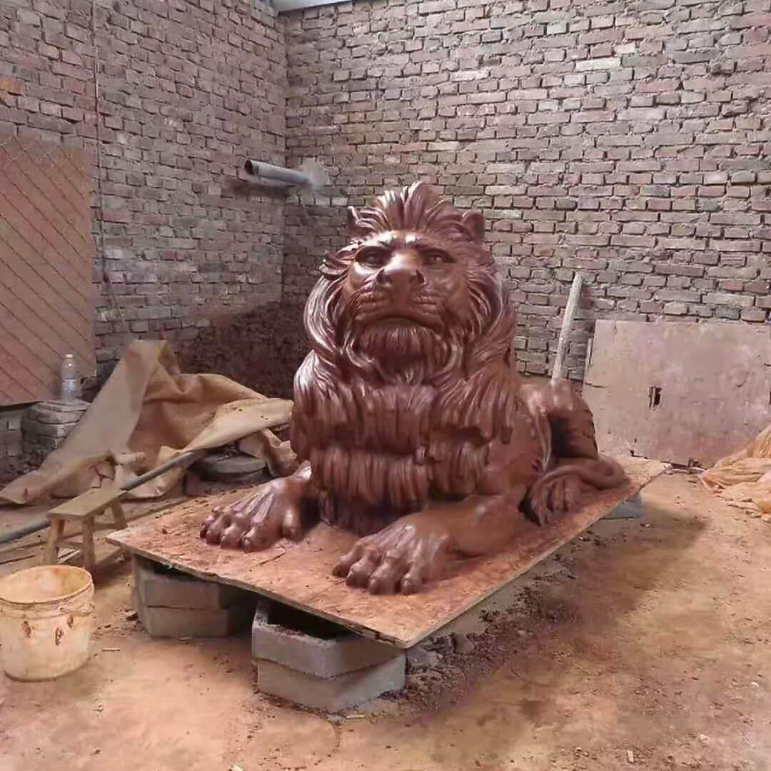 outdoor lion statue