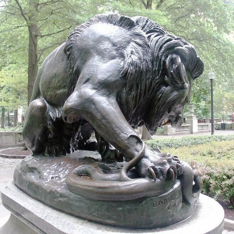 lion and snake statue