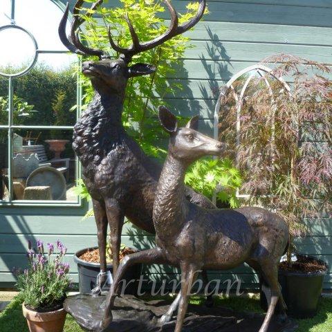 Bronze Outdoor Deer Statues For Garden Decoration