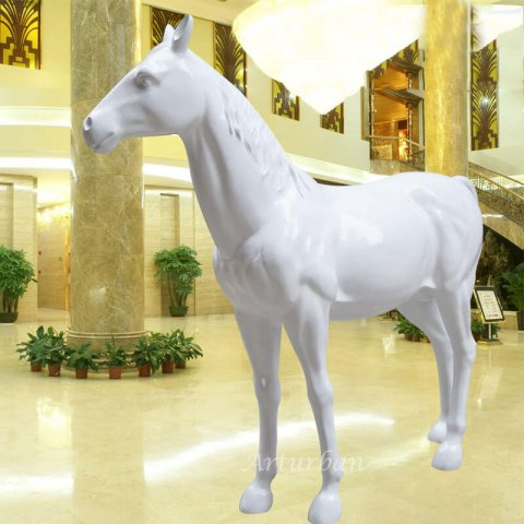 Life Size Fiberglass Standing White Horse Statue for Sale