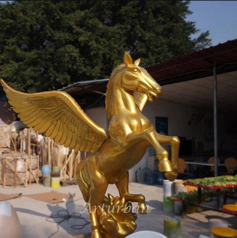 life size fiberglass winged horse statue