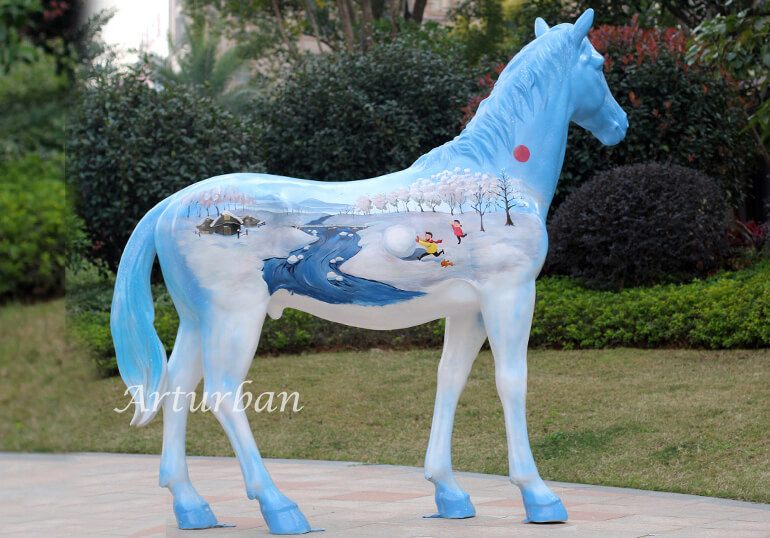 painted horse sculptures