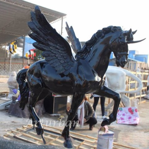 life size fiberglass flying horse sculpture