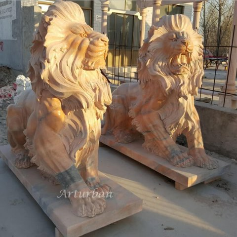 front door lion statues