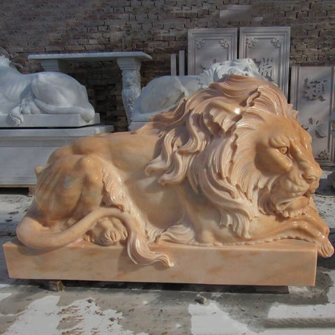 Marble Sleeping Lion Statue