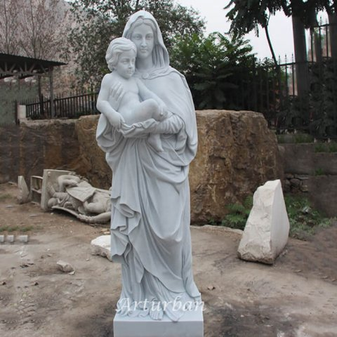 mother mary with baby jesus statue