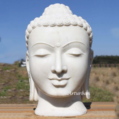 large buddha head statue