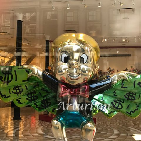 Richie Rich Flying In Money Sculpture