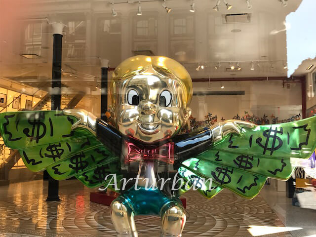 Fiberglass Monopoly Alec Richie Rich Flying In Money Sculpture