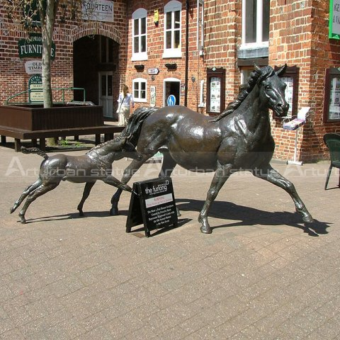 bronze mare and foal statue