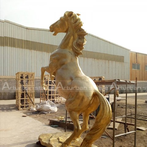 life size rearing horse statue