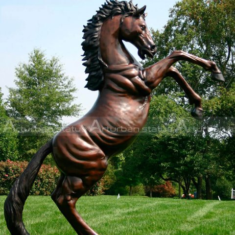 bronze rearing horse statue