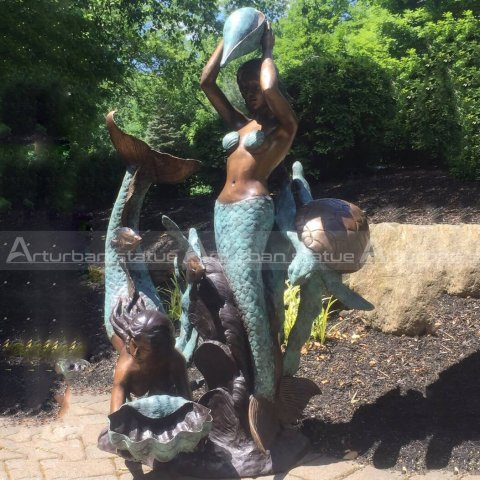 bronze mermaid sculpture fountain