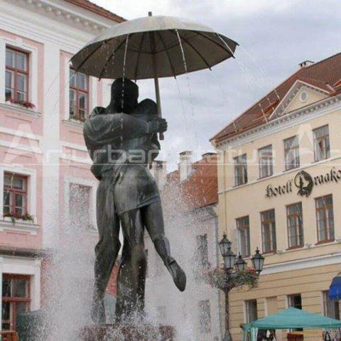 outdoor boy and girl fountain