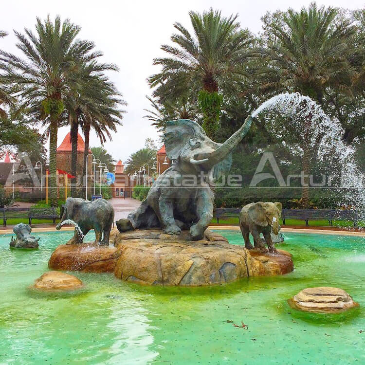 large bronze elephant fountain