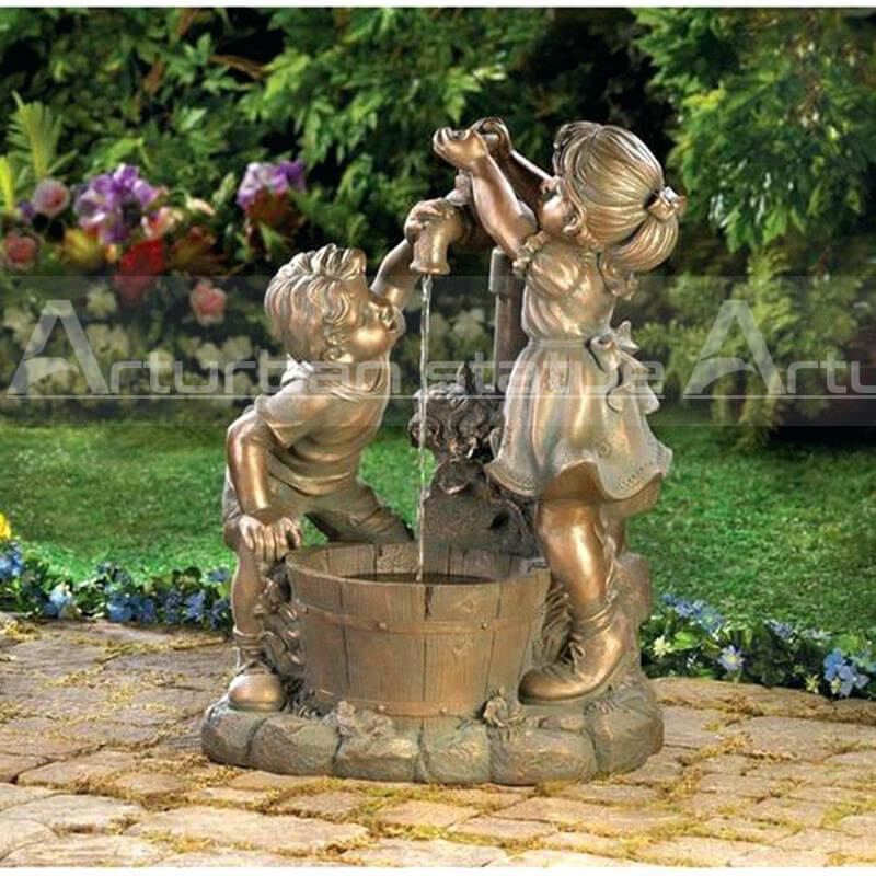 bronze boy girl fountain