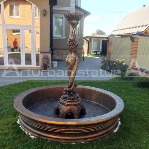 brass mermaid water fountain