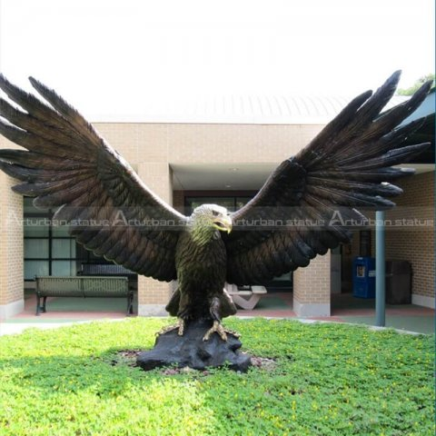 bronze large garden eagle sculpture