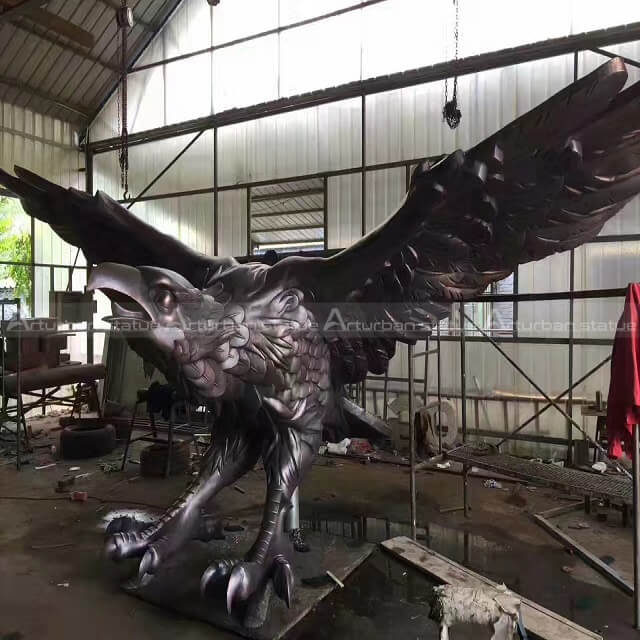 large bronze eagle sculpture
