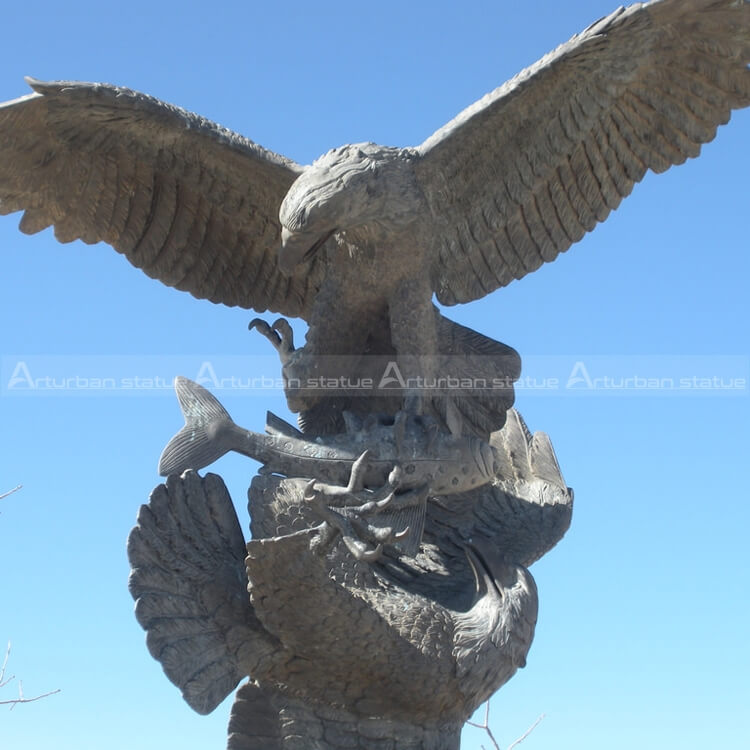 antique brass eagle statue