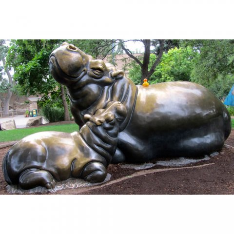 brass hippo statue