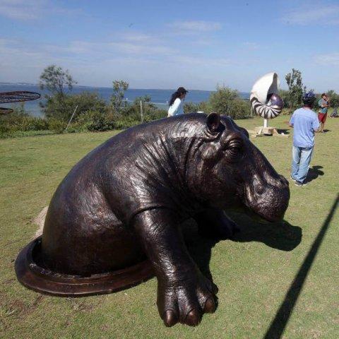 life size hippo statue