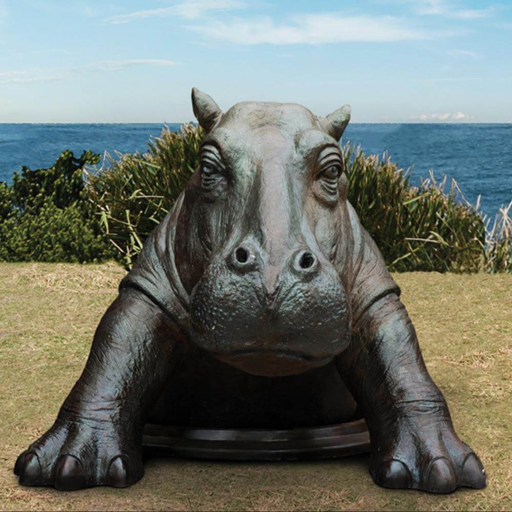 life size hippo statue