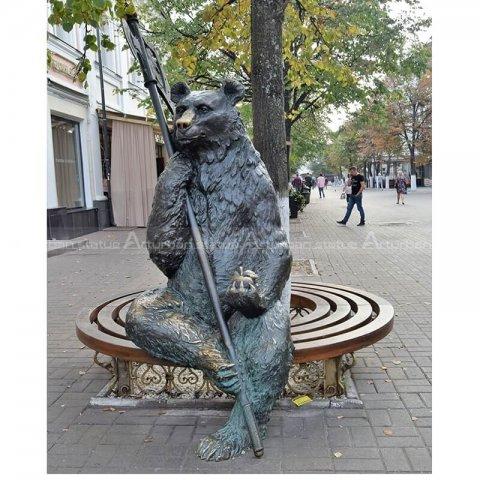 Metal bear statue