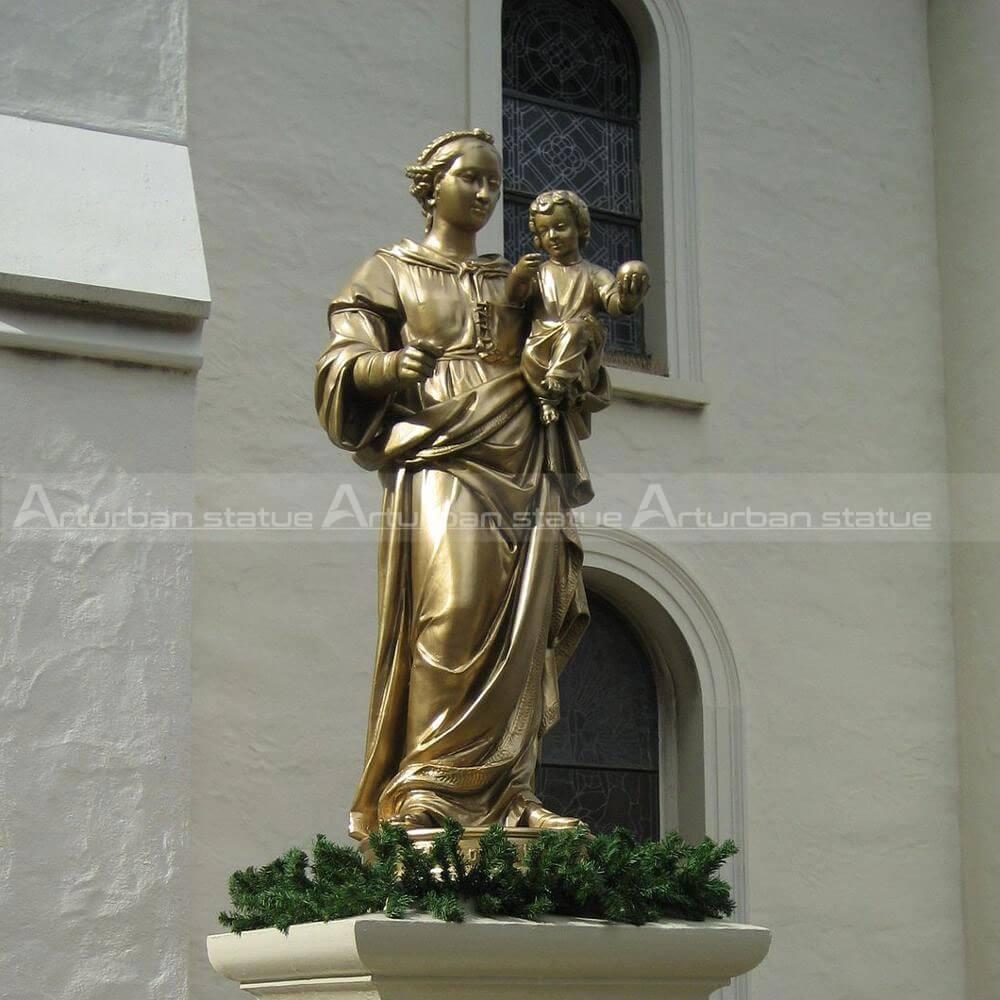 Mary Holding Baby Jesus Statue