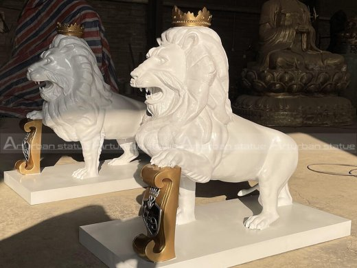 Lion Statue in Front of House
